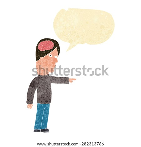 cartoon clever man pointing with speech bubble - stock vector