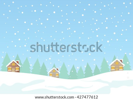 Cartoon Clip Art - Cute cottage house with light from windows on white falling snow and pine forest background, House and snow vector