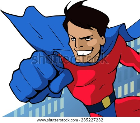 Cartoon close up  illustration of a mighty superhero in bright costume flying forward - stock vector
