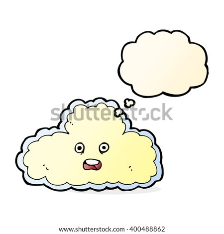 cartoon cloud symbol with thought bubble - stock vector