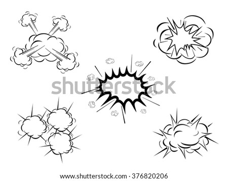 cartoon clouds of explosion, vector