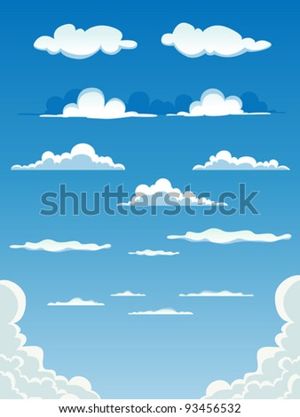 Cartoon Clouds Set/ Illustration of a collection of various vector cartoon clouds on a blue sky background - stock vector