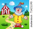 Cartoon clown with circus tent - vector illustration. - stock vector
