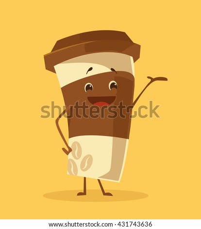Cartoon coffee cup. Take away coffee. Happy cup of coffee. Vector flat cartoon illustration - stock vector