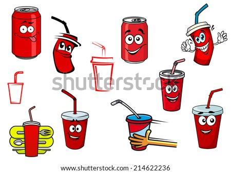Cartoon cola and soda cans, cups set for fast food, drink and beverage design - stock vector