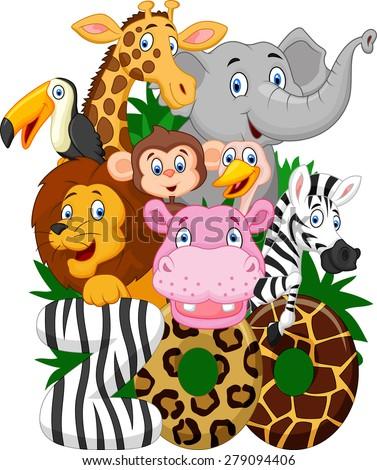 Cartoon collection animal of zoo  - stock vector