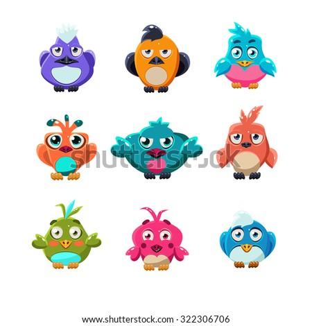 Cartoon collection of funny colourful cute little birds vector illustration set
