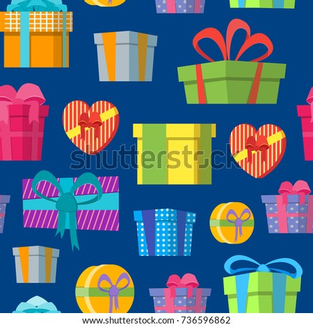 Cartoon color gift boxes background pattern stock vector 2018 cartoon color gift boxes background pattern on a blue flat style design elements for celebration or negle Gallery