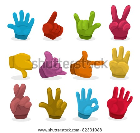 Cartoon color Hands collection ,vector - stock vector