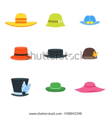 cartoon color hats set fashion men stock vector 548842348 - shutterstock