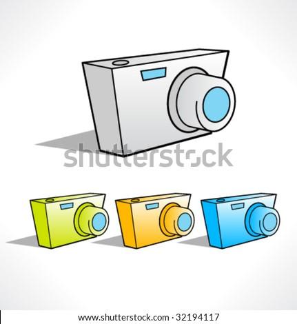 Cartoon color icons of digital camera. Vector - stock vector