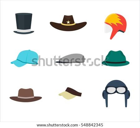 cartoon color professions hats cap set stock vector 548842345