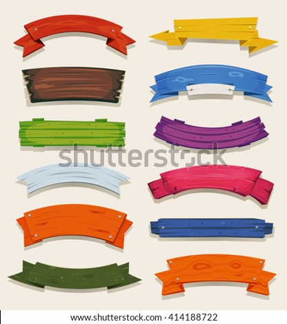 Cartoon Colored Wood Banners And Ribbons/ Illustration of a set of various comic colored wooden banners, ribbons, origami, swirls and scrolls - stock vector