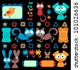 Cartoon colorful animals set - stock vector