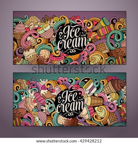 Cartoon colorful vector hand drawn doodles ice cream corporate identity. 2 Horizontal banners design. Templates set - stock vector