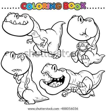 Vector Illustration Dinosaur Cartoon Coloring Book Stock