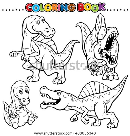 Cartoon Coloring Book Dinosaurs Character Stock Vector 488056348