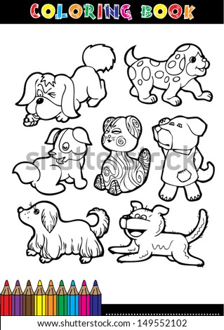 Cartoon coloring book page or coloring black and white dog.