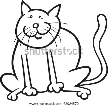 cartoon cat coloring pages - black white cartoon illustration funny cat stock