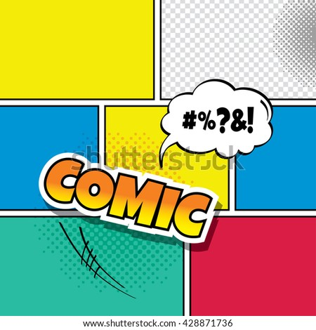Cartoon Comic Book Template Theme Vector Stock Vector