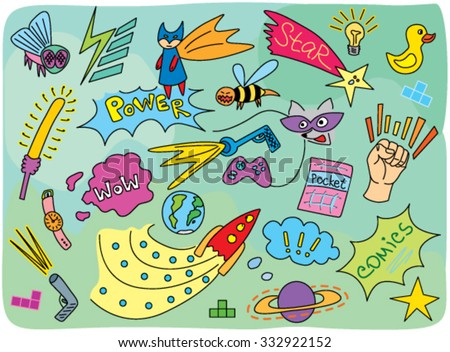 cartoon comic pattern with super heroes - stock vector