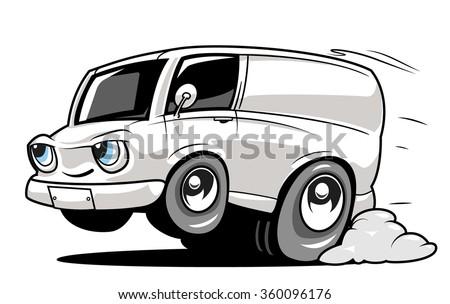 Cartoon commercial van - stock vector