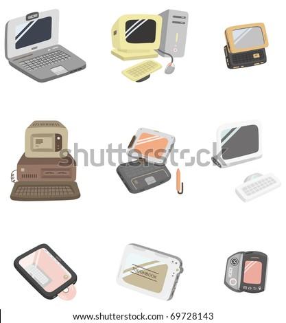 cartoon computer icon - stock vector