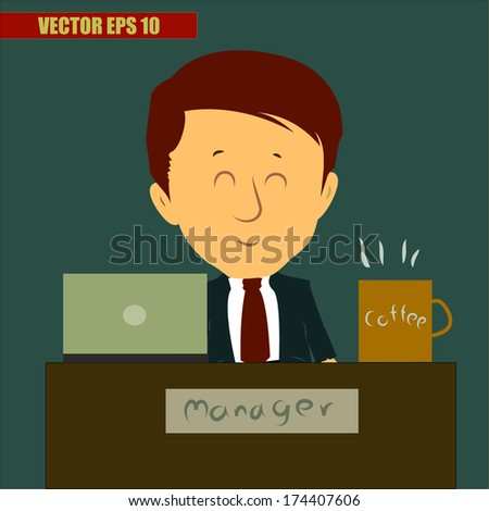 Cartoon concept  Business man rank manager working with happy face   - stock vector