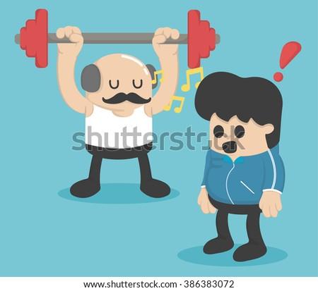 Cartoon concept exercise ,Weight lifting - stock vector