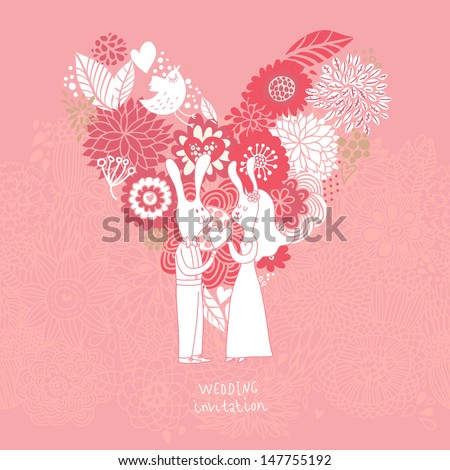 Cartoon concept marriage. Romantic background with heart made of flowers and funny rabbits. Vector wedding floral invitation in pink colors. Ideal for wedding cards and Save the Date invitations