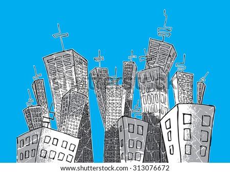 cartoon concrete city vector illustration - stock vector