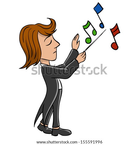 Cartoon conductor in black tailcoat with notes. Vector illustration. - stock vector