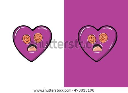 cartoon confused emoji heart shape purple stock vector 493813198 shutterstock