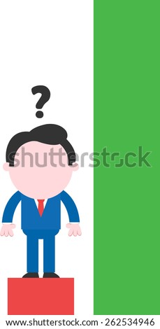 Cartoon confused faceless businessman standing on low red bar beside tall green bar - stock vector