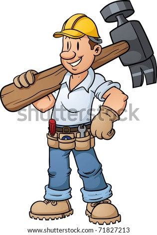Cartoon construction worker carrying a big hammer. Vector illustration with simple gradients. - stock vector