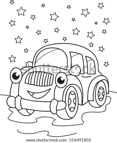 Cartoon Contour Illustration Of A Smiling Car Coloring Book
