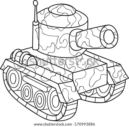 cartoon contour illustration of an army tank coloring book