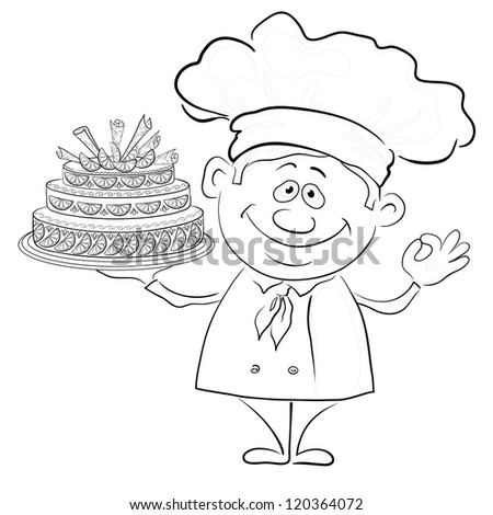 Cartoon cook - chef with sweet holiday cake, black contour on white background. Vector - stock vector