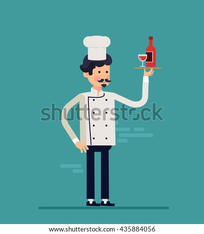 Cartoon cook chefs illustration. Restaurant cook chefs hat and cook uniform with bottle of vine. Professions job. Vector characters restaurant staff in trendy flat design. Food service professionals - stock vector