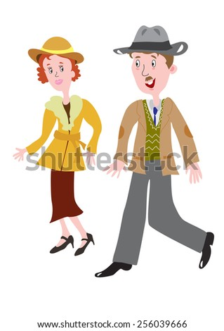 cartoon couple in the fashionable clothes of the 1930s