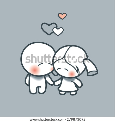 Cartoon couple of lovers - stock vector