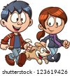 Cartoon couple walking dog. Vector clip art illustration with simple gradients. Each in a separate layer for easy editing. - stock photo