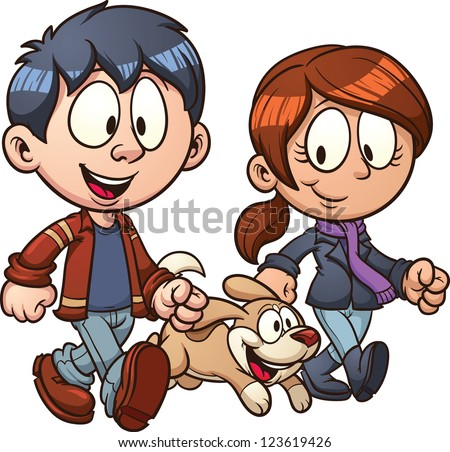 Cartoon couple walking dog. Vector clip art illustration with simple gradients. Each in a separate layer for easy editing. - stock vector