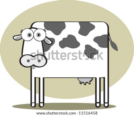 Cartoon Cow in Black and White - stock vector