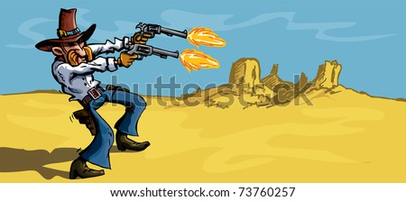 Cartoon cowboy in the desert firing his six guns. There is a blue sky behind him - stock vector