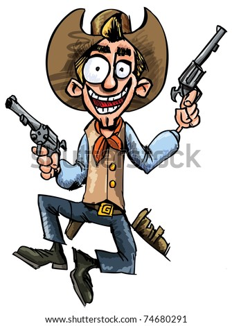 Cartoon cowboy jumping up and down with six guns. Isolated on white - stock vector