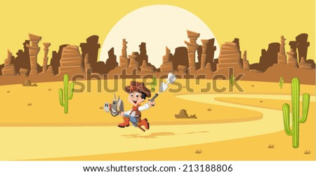 Cartoon cowboy kid galloping on Wild west   - stock vector