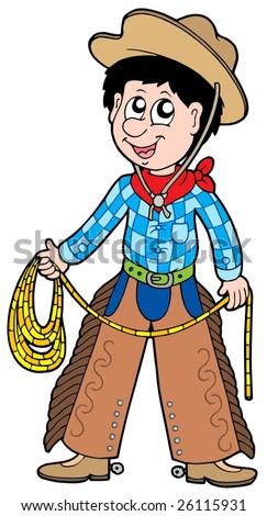 Cartoon cowboy with lasso - vector illustration. - stock vector