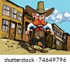 Cartoon cowboy with sixguns . Town street in the background - stock vector