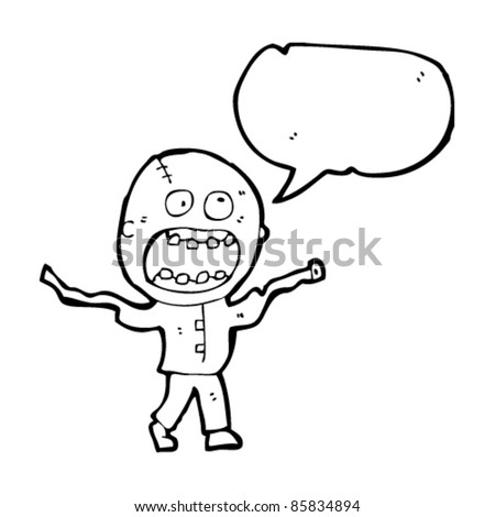 cartoon crazy zombie madman - stock vector